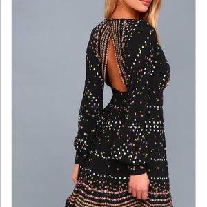 Free People Coryn A-line Black Mini Dress